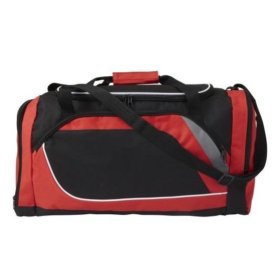 Sporttassen in rood-zwarte print 45 liter