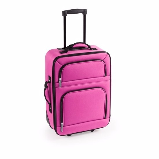 Stoffen koffer handbagage roze 50 cm