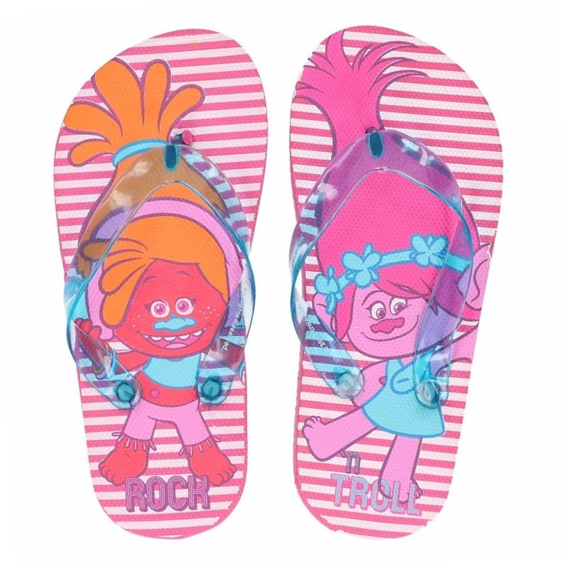 Trolls flip flops roze streep