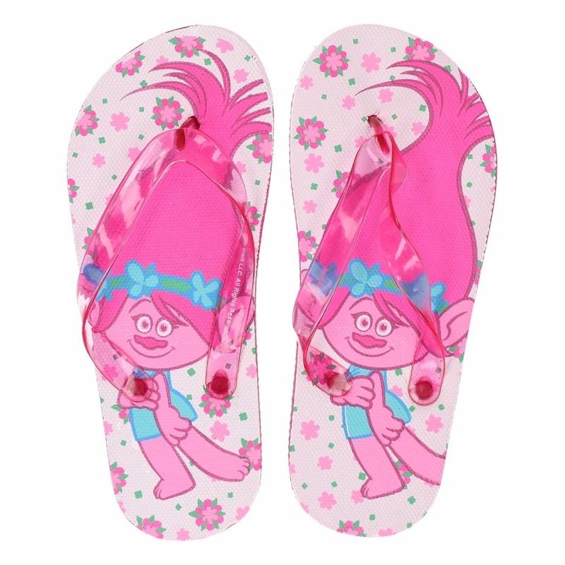 Trolls wit-roze flip flops voor meisjes