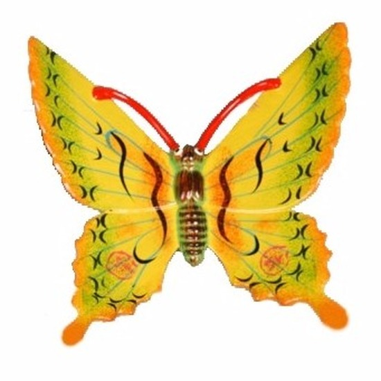 Tuindecoratie vlinder geel 17 cm kunststof