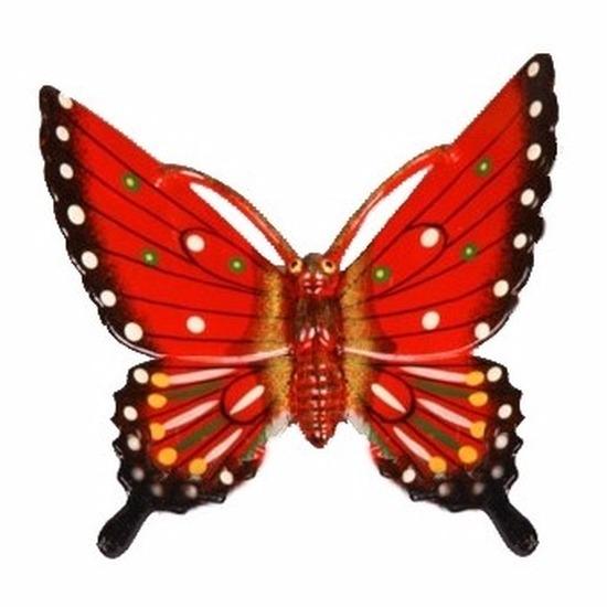Tuindecoratie vlinder rood 11 cm kunststof