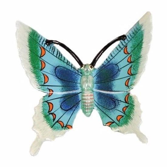 Tuindecoratie vlinder wit-blauw 17 cm kunststof