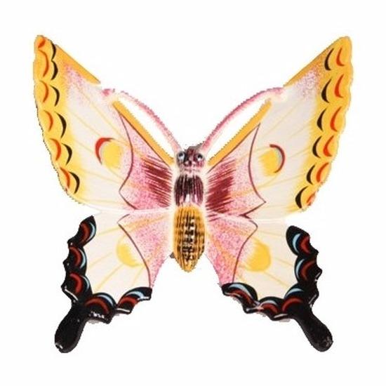 Tuindecoratie vlinder wit-geel 17 cm kunststof