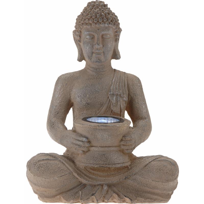 Tuinverlichting solar lamp boeddha bruin 28 cm