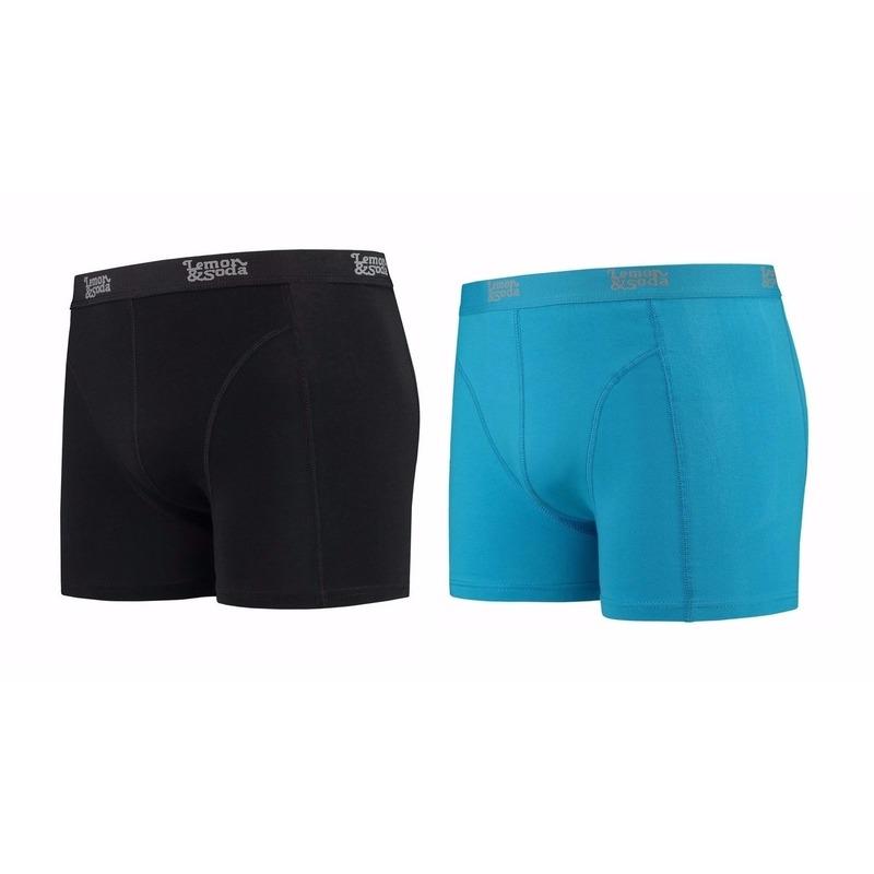 Voordeelpakket Lemon and Soda boxers zwart en blauw 2 stuks L