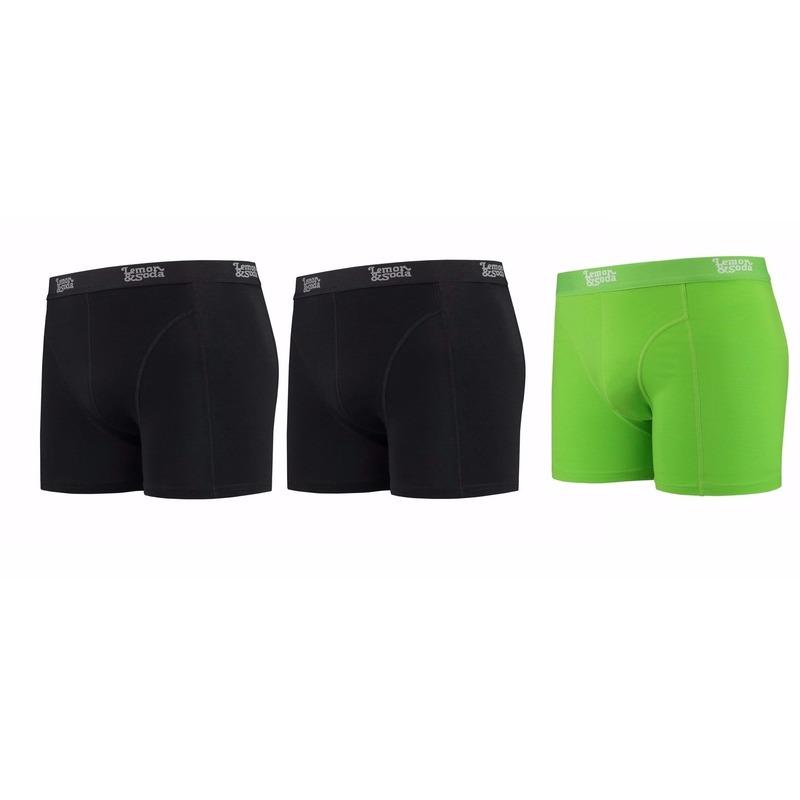 Voordeelpakket Lemon and Soda boxers zwart en groen 3 stuks M