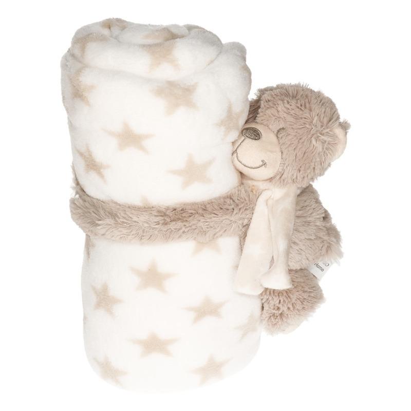 Wit-beige sterrenprint deken 100 x 75 cm met klittenband beren knuffel