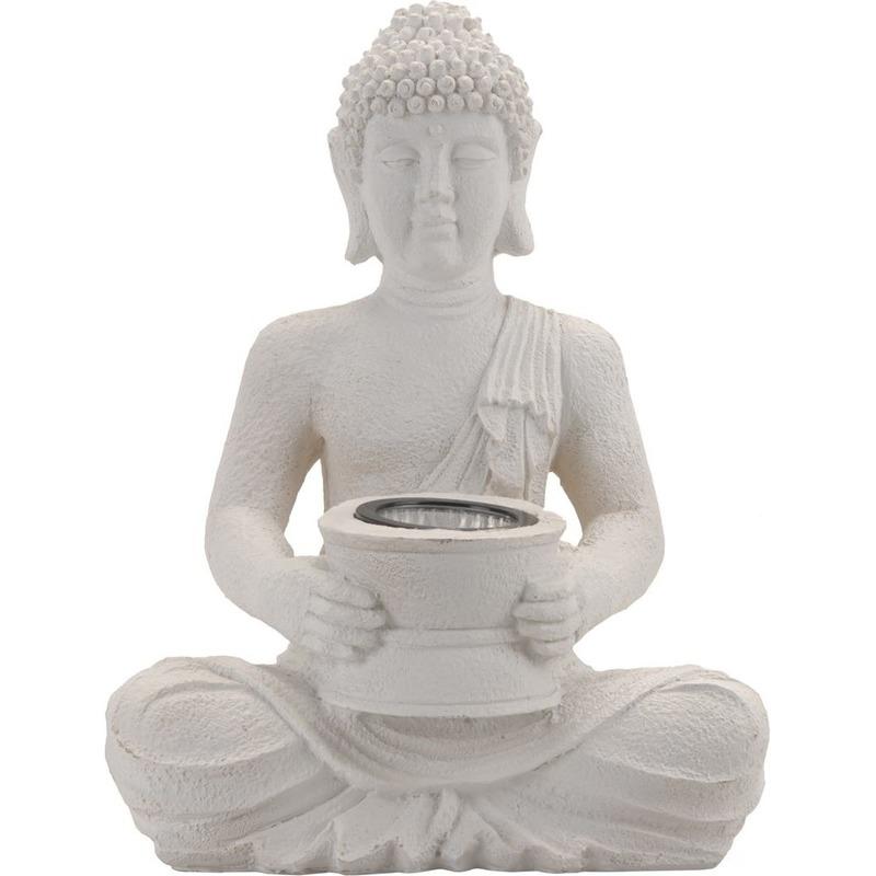 Wit Boeddha beeld met solar verlichting 31 cm