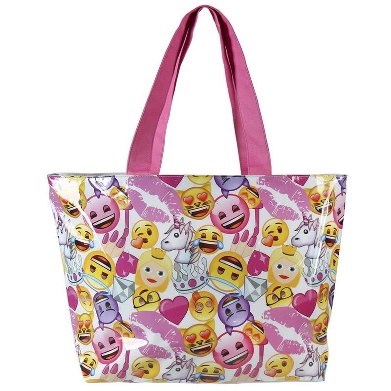Wit-roze emoticon tas voor meisjes 48 cm