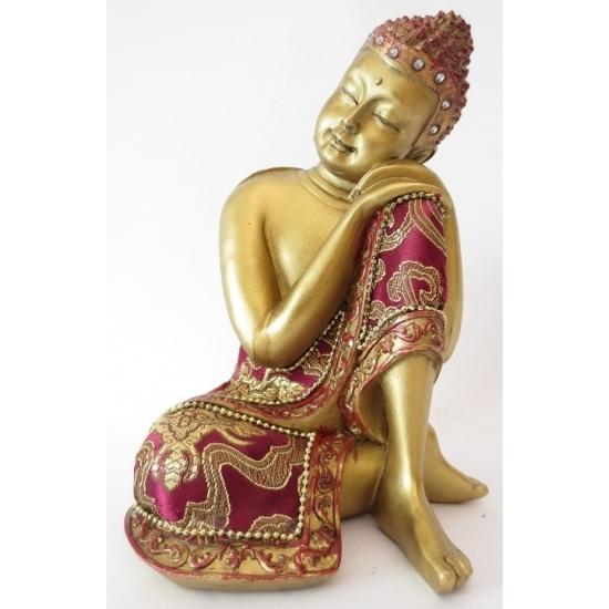 Woondecoratie Boeddha beeldjes goud 19 cm