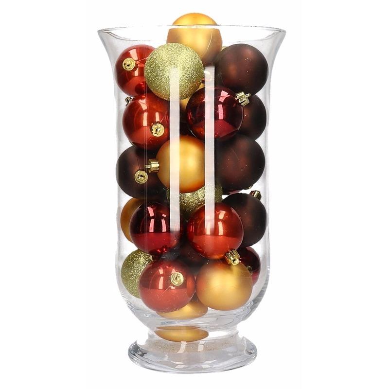 Woondecoratie vaas met rood-bruine kerstballen