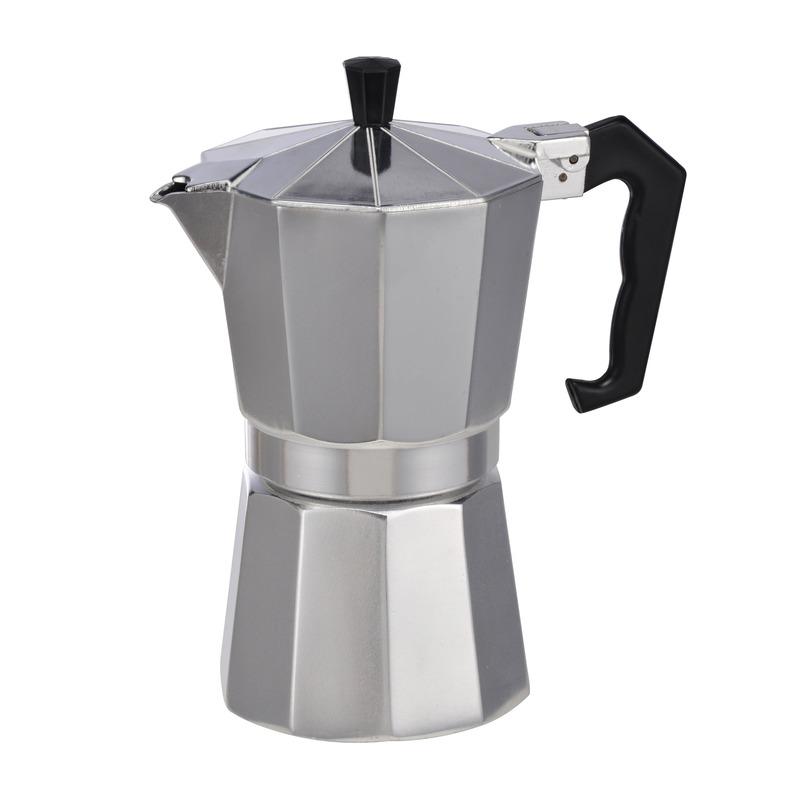 Zilveren percolator-espresso apparaat voor 6 kopjes