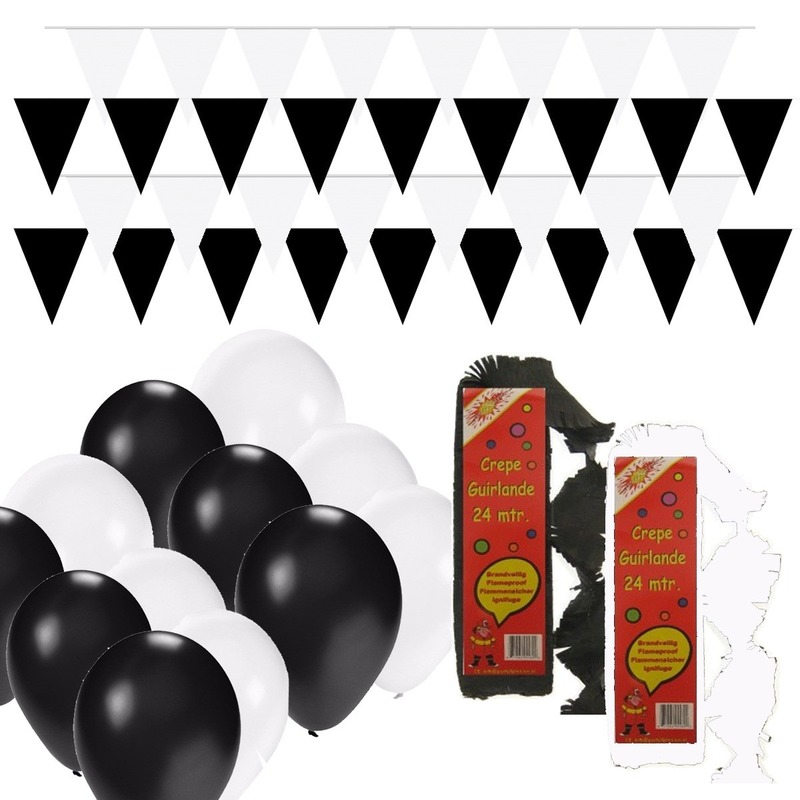 Zwart en Wit feestartikelen decoratie pakket huiskamer