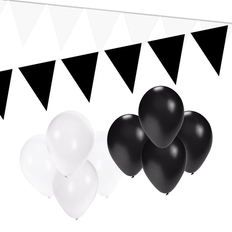 Zwart en Wit feestartikelen decoratie pakket small
