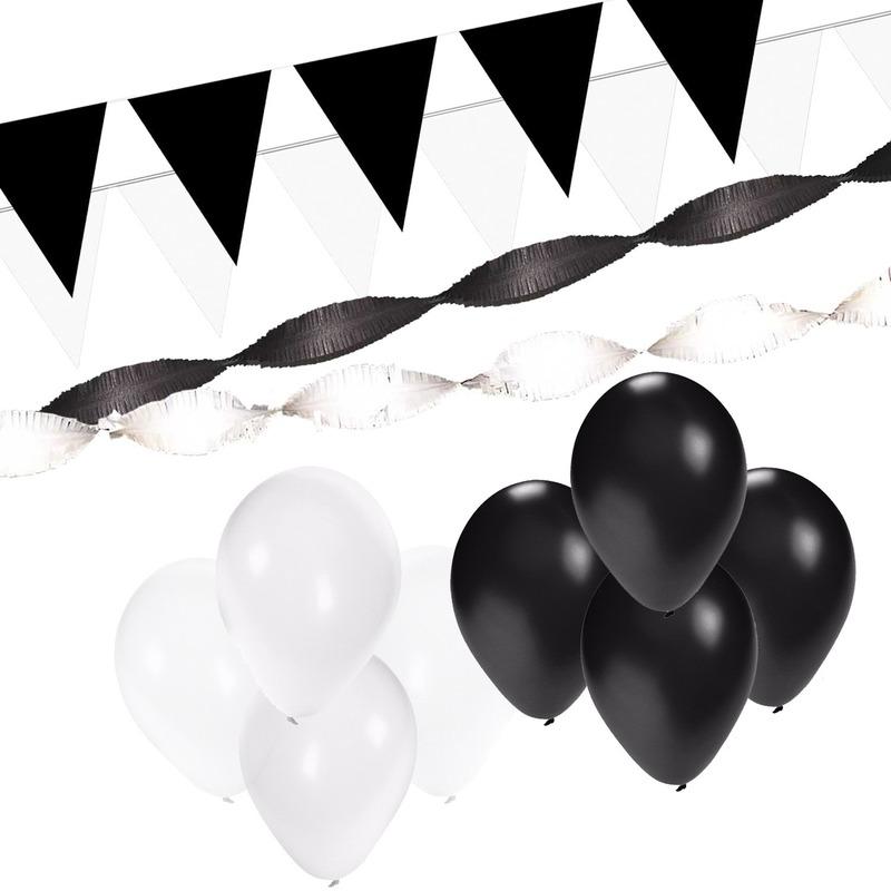 Zwart en Wit feestartikelen decoratie pakket XL