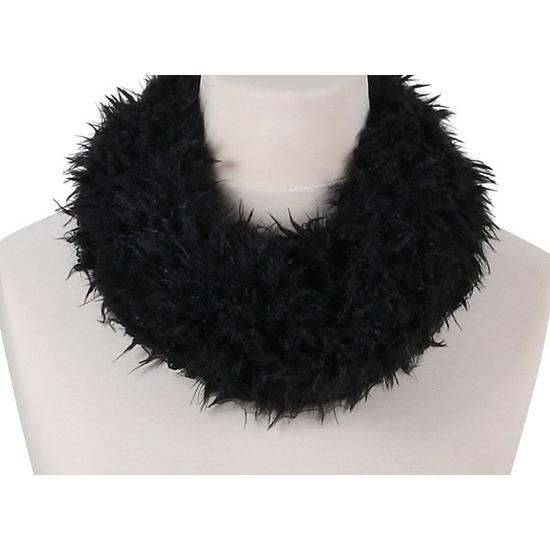 Zwart fleece ronde col sjaal voor volwassenen