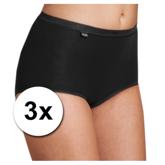 Zwarte Sloggi damesondergoed basic slip 3x