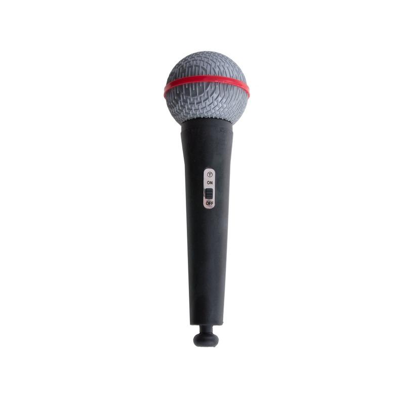 Zwarte speelgoed microfoon the voice muzikant 19 cm