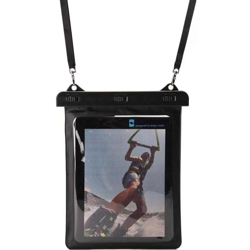 Zwarte-witte waterbestendige universele tablet hoes 10,5 inch met halskoord-nekkoord