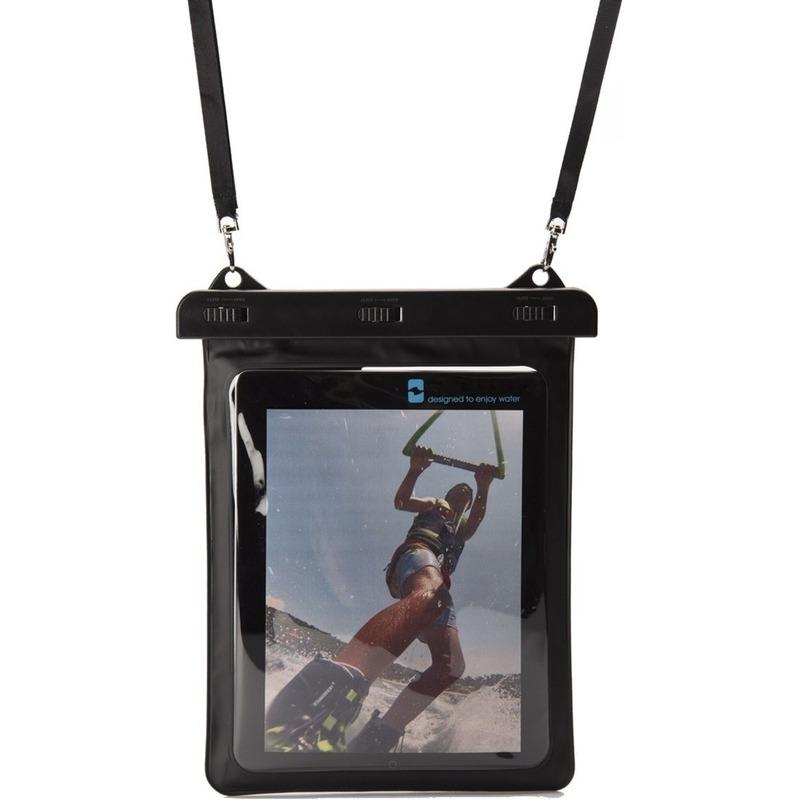 Zwarte-witte waterbestendige universele tablet hoes met halskoord-nekkoord