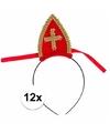 Voordelige Sinterklaas mijtertjes 12 x rood op diadeem voor kinderen