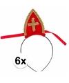 Voordelige Sinterklaas mijtertjes 6 x rood op diadeem voor kinderen