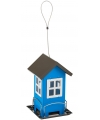 Metalen vogel voederhuis blauw 19cm