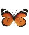 Metalen oranje deco vlinder 30 cm