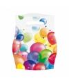 Feestelijke zakjes met ballonnen opdruk plastic 16x23cm 8st