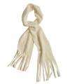 Fleece sjaals met franjes off white