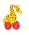 Houten trekdier giraffe 13 cm