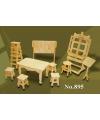Houten poppenhuis meubels kunstatelier