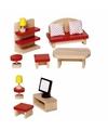 Luxe houten poppenhuismeubeltjes woonkamer