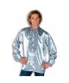 Luxe heren rouche overhemd zilver