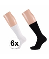 Zwarte en witte basic sokken voor dames 6 paar