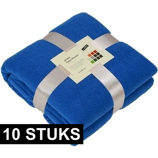 10x Fleece woondekens-woonplaids kobaltblauw 130 x 170 cm
