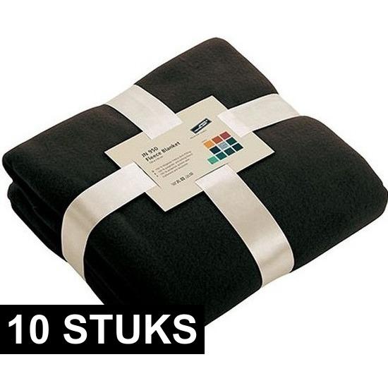 10x Fleece woondekens-woonplaids zwart 130 x 170 cm