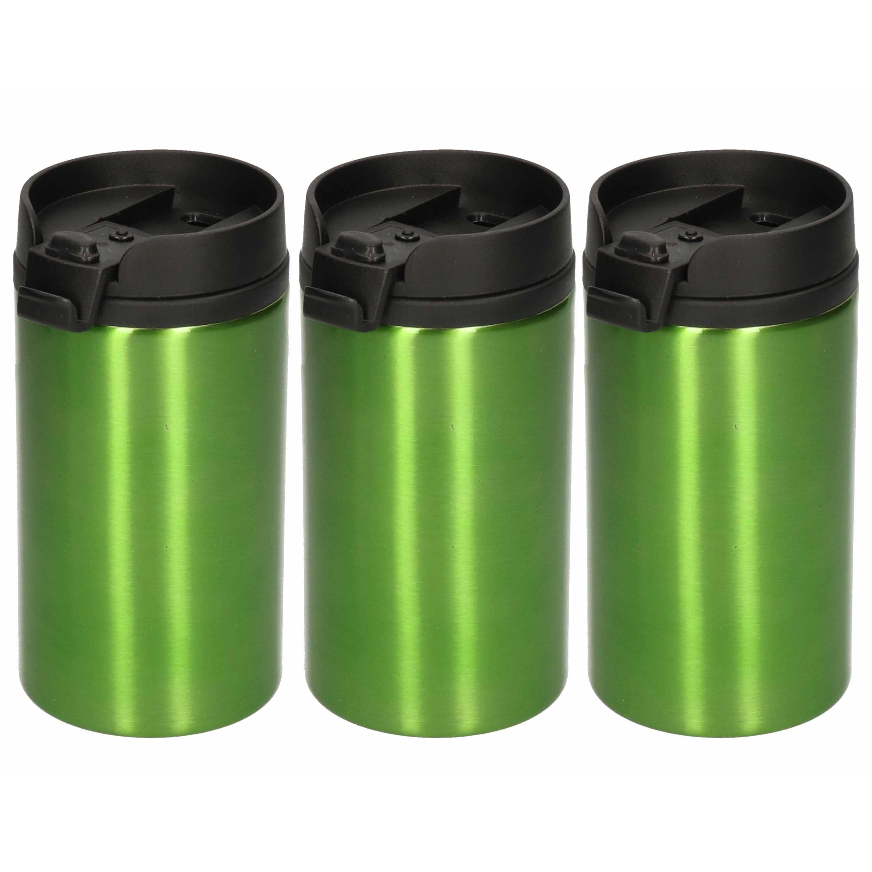10x Isoleerbekers RVS metallic groen 320 ml