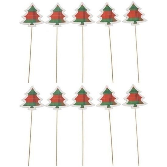 10x Kerststukje instekertjes met houten kerstbomen 34 cm