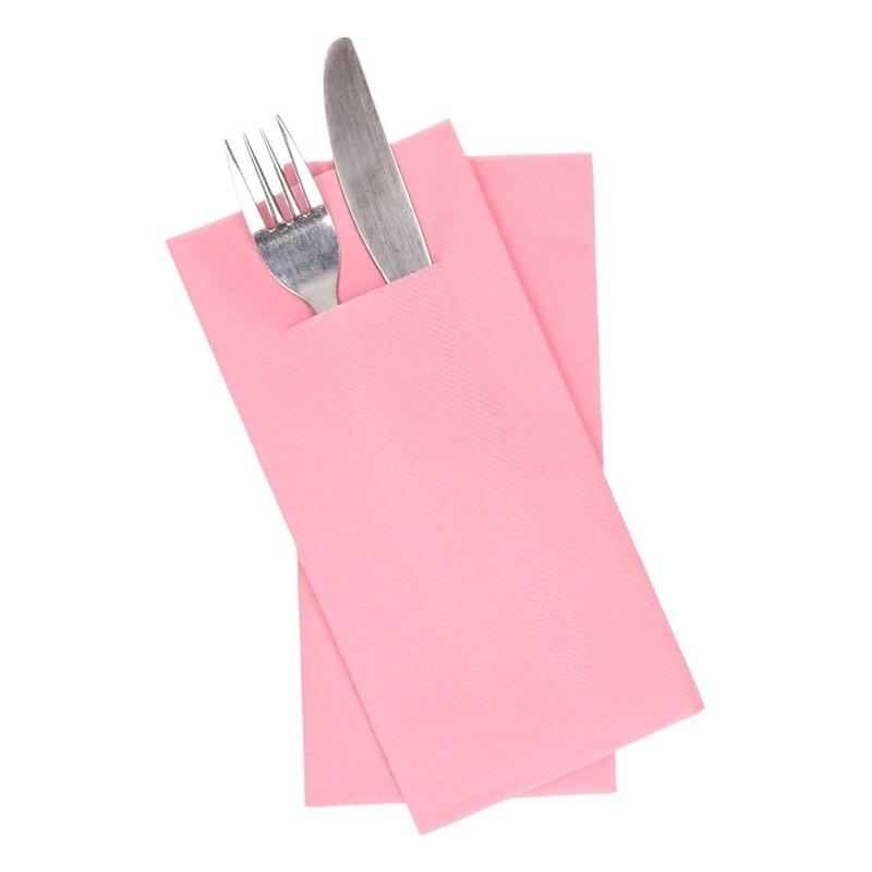 12 stuks lichtroze servetten met vakje voor bestek