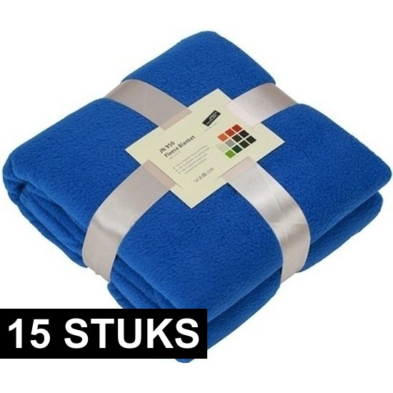 15x Fleece woondekens-woonplaids kobaltblauw 130 x 170 cm