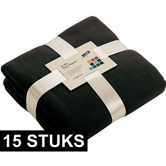 15x Fleece woondekens-woonplaids zwart 130 x 170 cm