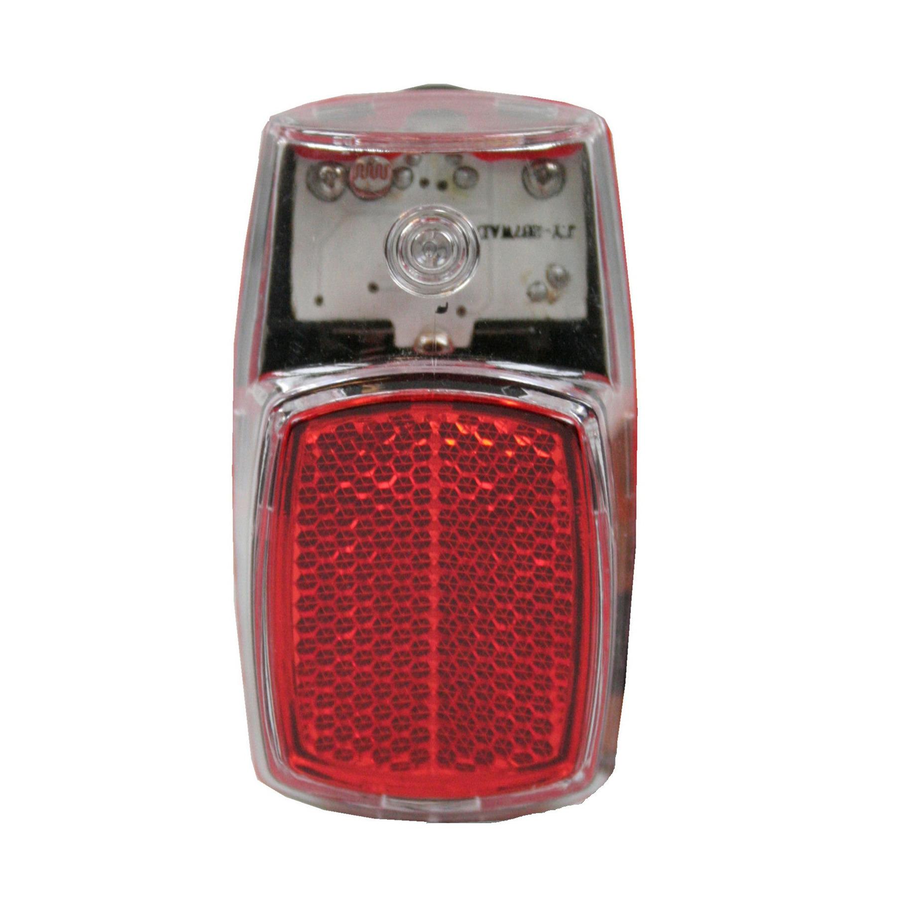 1x Fietsverlichting batterijachterlicht-achterlamp spatbordbevestiging met 1 heldere LED 8 x 4 cm
