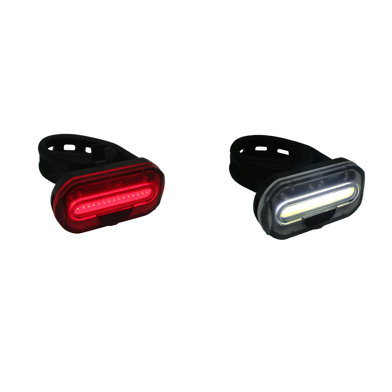 1x Fietsverlichting setje fietskoplamp en achterlicht met 1 heldere COB LED zadelpen-stuur bevestigi