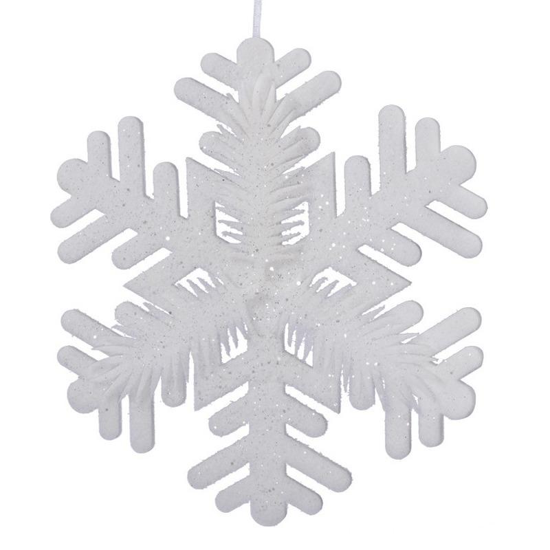 1x Grote witte ijsbloemen-sneeuwvlokken kerstversiering-kerstdecoratie 30 cm