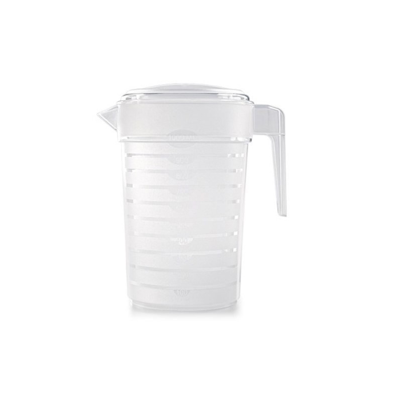 1x Kunststof koelkast schenkkannen 1 liter met deksel
