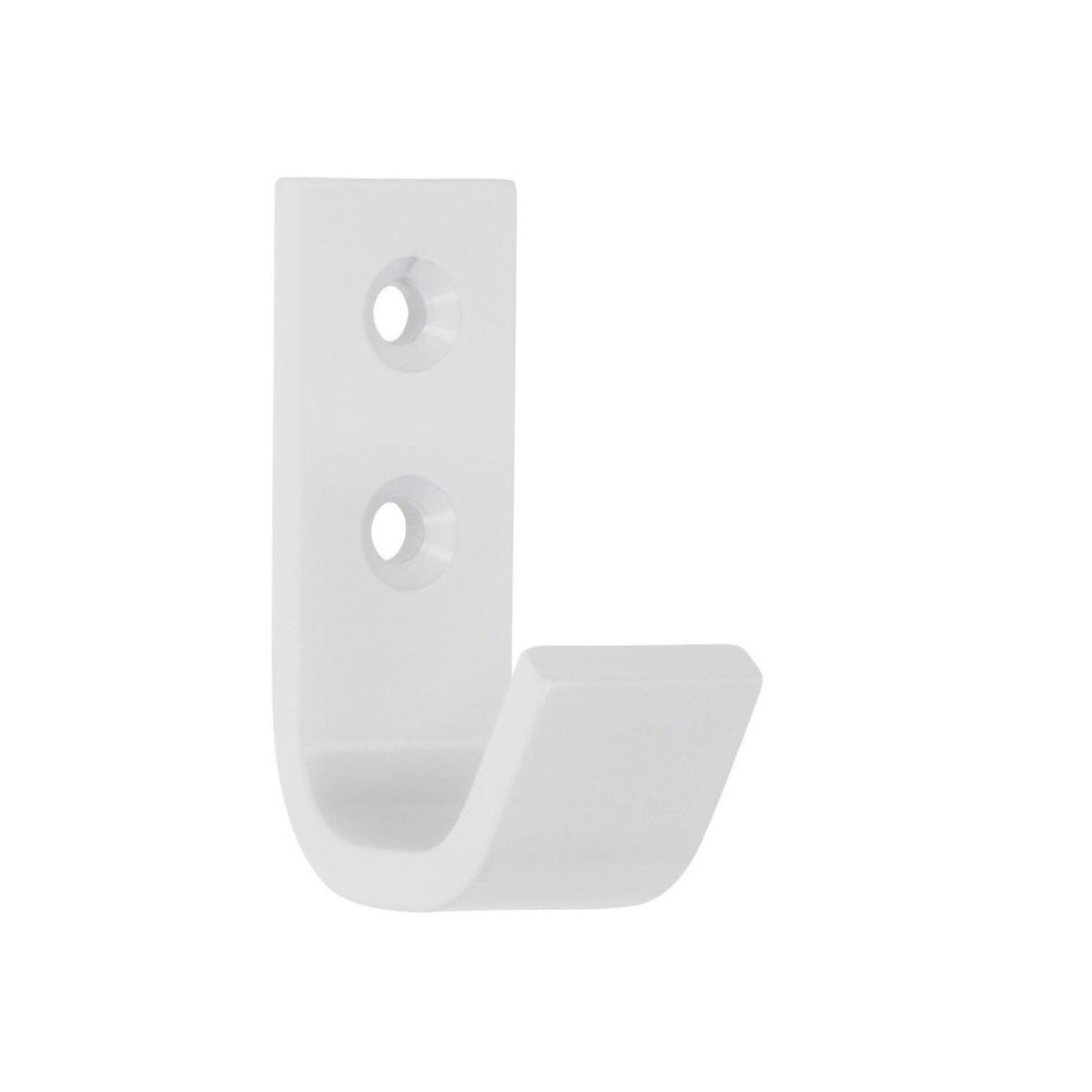 1x Luxe witte garderobe haakjes-jashaken-kapstokhaakjes hoogwaardig aluminium 5,4 x 3,7 cm