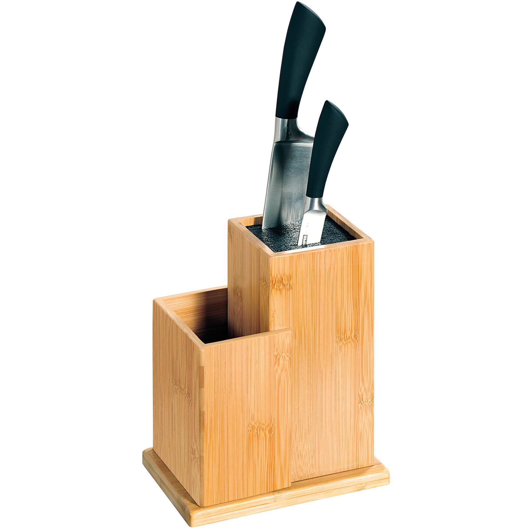 1x Messenblokken-messenhouders 13 x 18 x 24 cm bamboehout met vak voor keukengerei