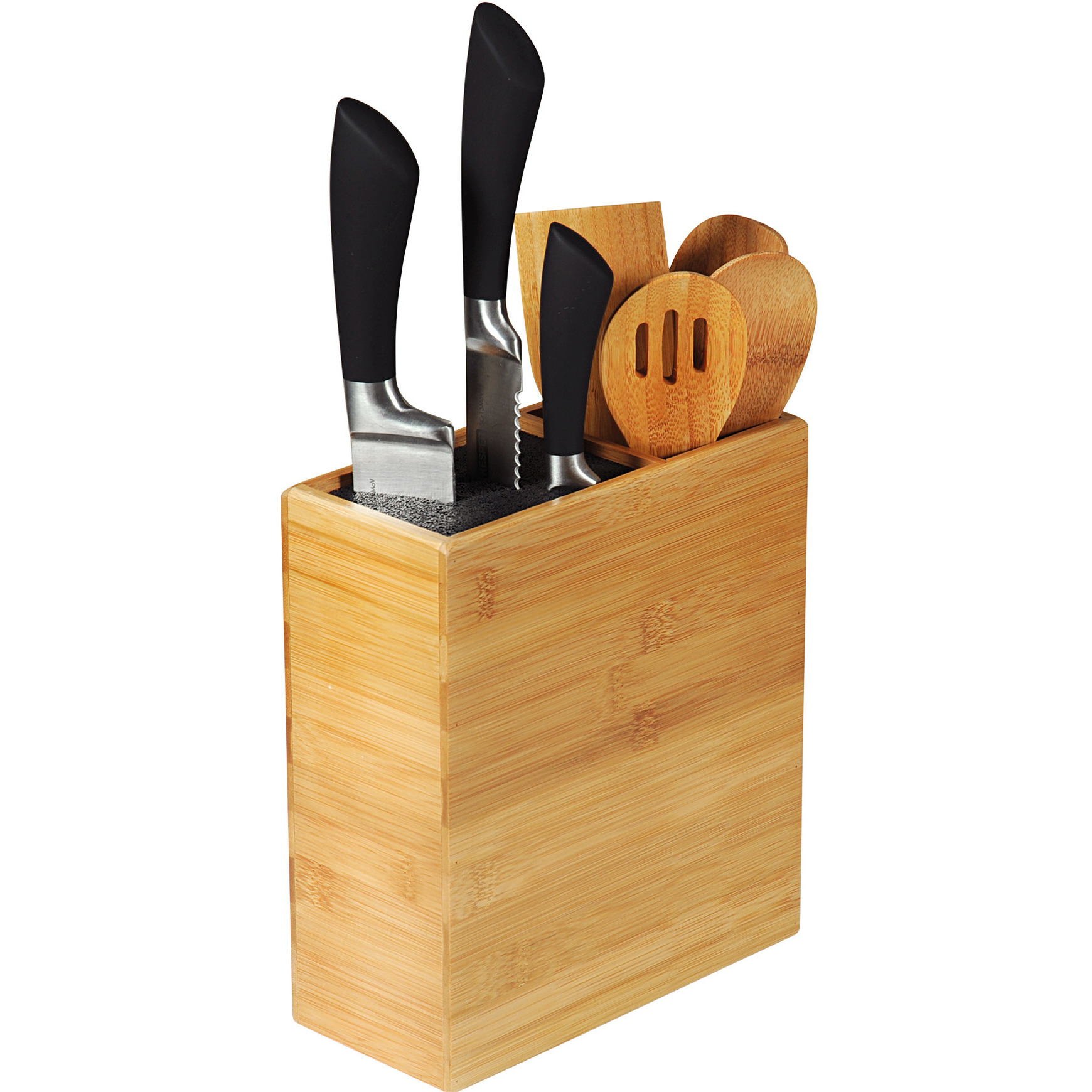 1x Messenblokken-messenhouders 9 x 20 x 24 cm bamboehout met vak voor keukengerei